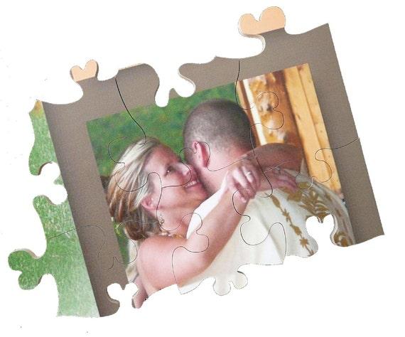 Wood Wedding Guest Book Registry Puzzle - 18x24 105 Piece Puzzle (105 - 150 guests)