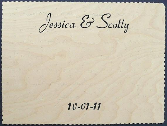 Wood Wedding Guest Book Registry Puzzle - 16x20 80 Piece Puzzle (80-110 guests)