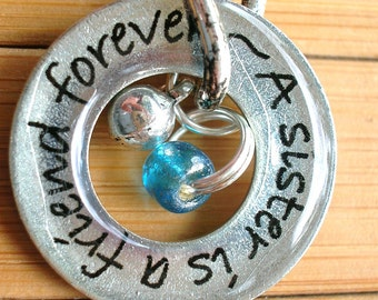 A sister is a friend forever...13/16 inch silver word quote phrase washer pendant with chain