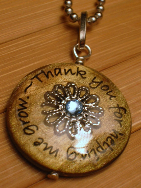 Teacher...Thank you for helping me grow...brown shell bead pendant with chain