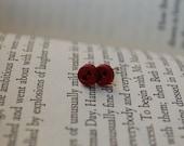 Button Earrings - Wine
