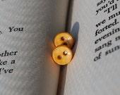 Button Earrings - Mustard Yellow