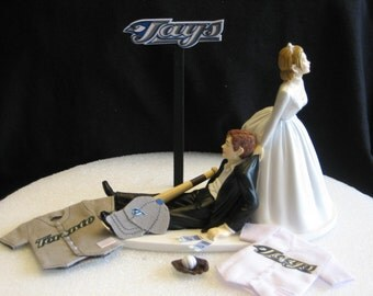 Toronto Blue Jays Wedding Cake Topper Bride Groom hat jersey