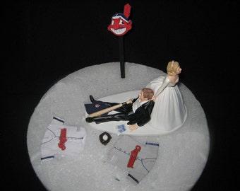 Cleveland Indians BASEBALL Wedding Cake Topper Groom Cake