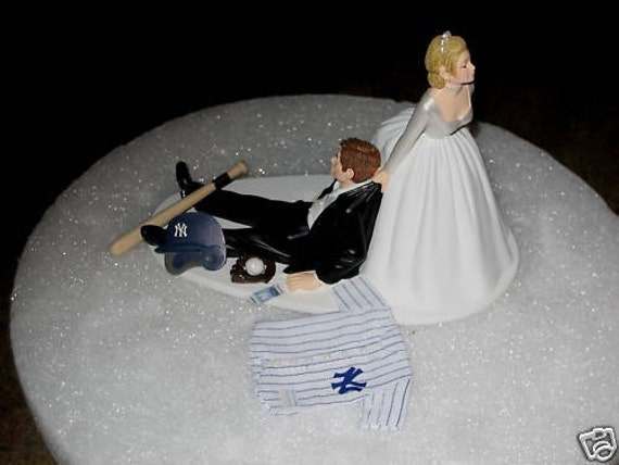 New York Yankees Baseball Wedding Cake Topper Bride Groom