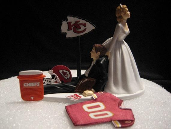 kansas city chiefs wedding cake topper bride groom jersey. Black Bedroom Furniture Sets. Home Design Ideas