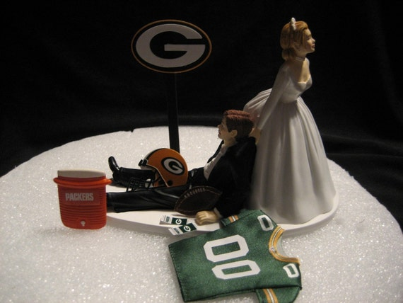 Pittsburgh steelers wedding cake topper bride groom jersey for Green bay packers wedding dress