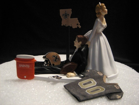 New Orlean Saints Wedding Cake Topper Bride Groom Jersey Helmet
