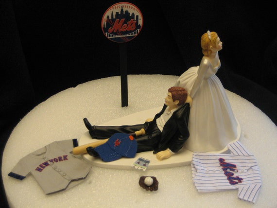 New York Mets BASEBALL Wedding Cake Topper Groom Cake