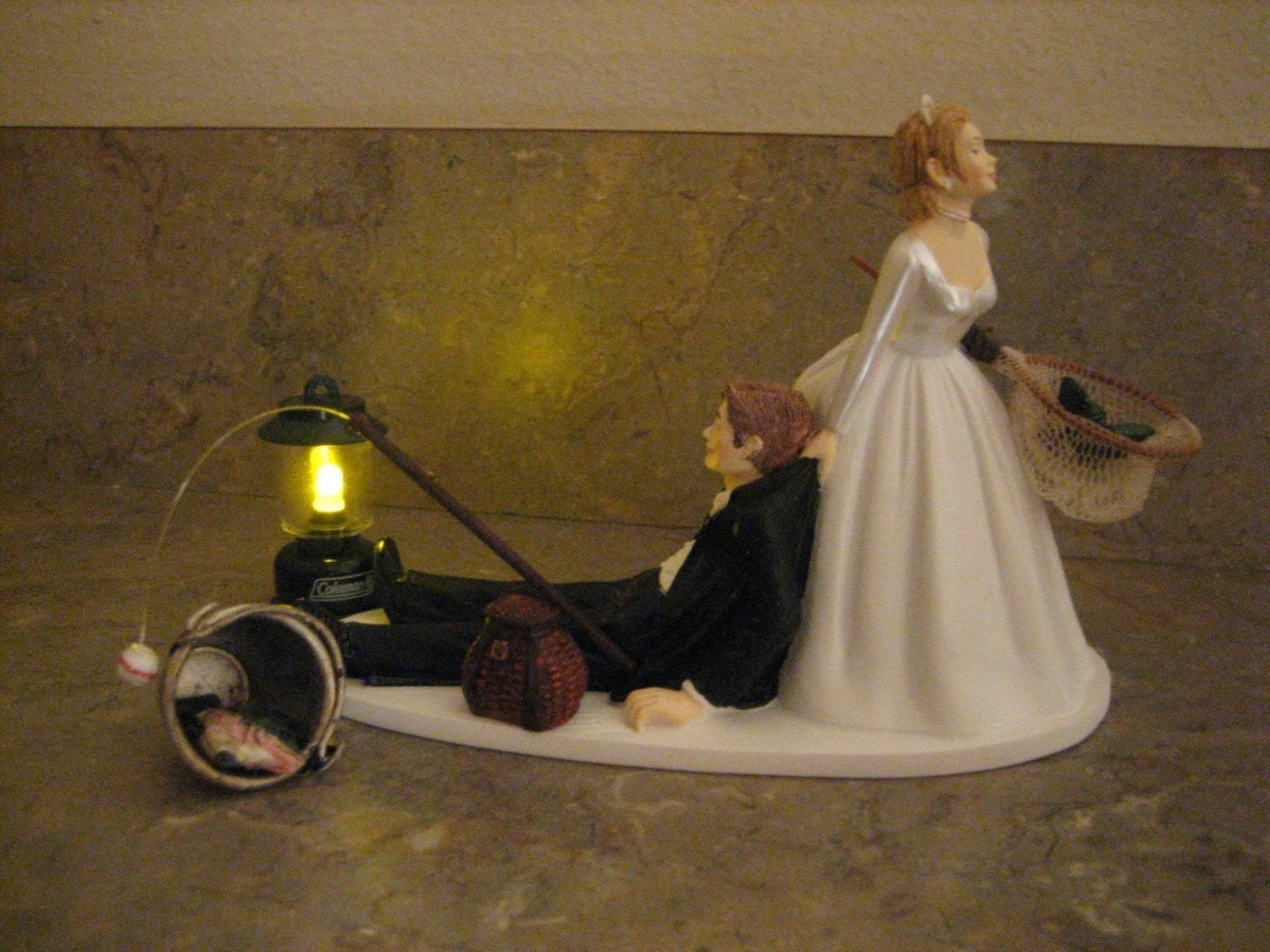 fishing themed wedding cake topper for the groom