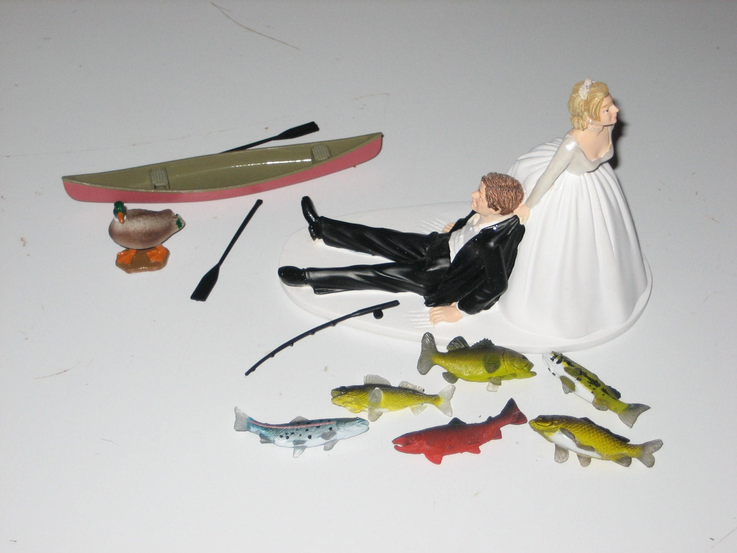 Fishing themed wedding cake topper for the groom canoe for Fishing cake toppers