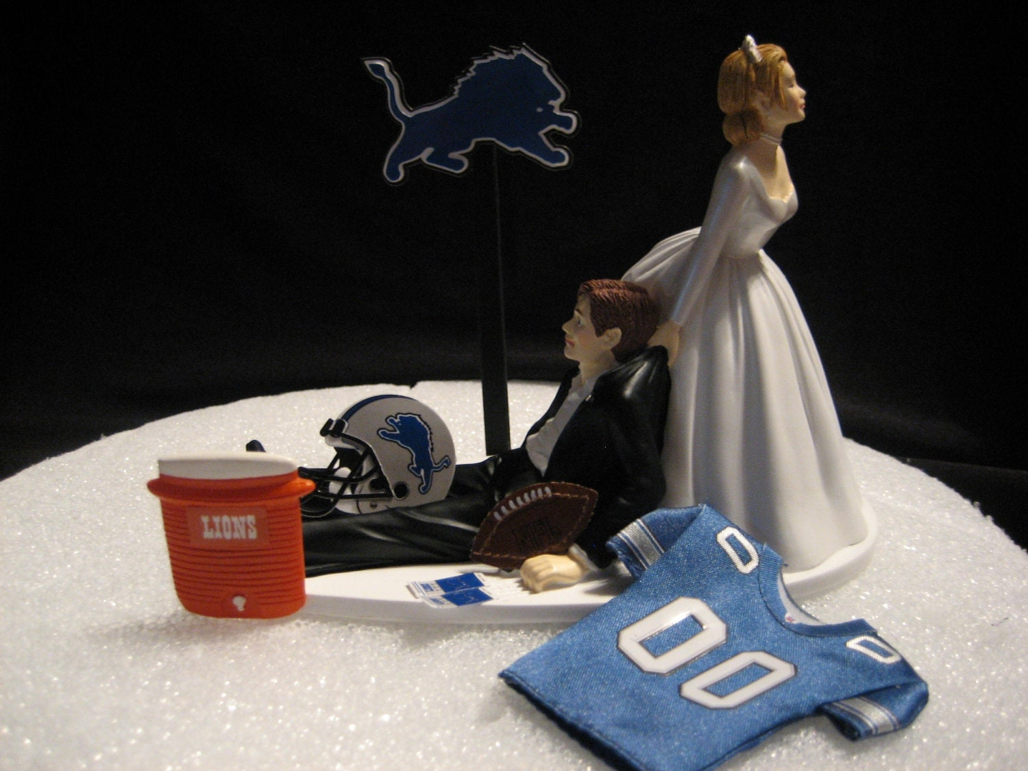 Detroit Lions Wedding Cake Topper Groom Bride Bachelor Party