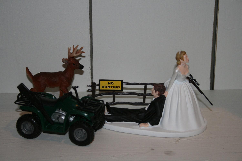 Deer Hunting Hunter GROOM Wedding Cake Topper ATV
