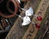 Red Ruby Quartz Briolette and Mini Silver Sparrow Earrings, Bird Earrings, Cute, Whimsical