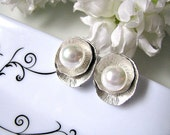 Matte Silver Lotus Leaf With Shell Pearls Ear Posts - Bride, Maid Of Honour, Bridesmaids