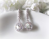 Bridal Earrings - Matte Rhodium Plated Dangling Serial Flowing CZ Stones Ear Posts With Clear Cubic Zirconia Rounds, Bride, Bridesmaids