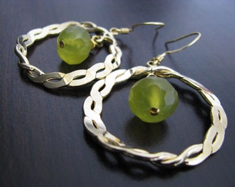 Lime Green Halo Earring. Lime Green Korean Jade Faceted Rondelles Twisted Hoops Earrings. Rondelles Earrings. Round Earrings. Green Earrings