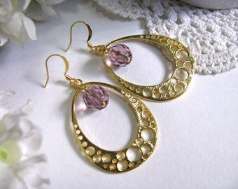 Lilac Lavender Bubble Drop Earrings, Bubbly Gold Plated Hoop Earrings, Dangle Earrings, Bridesmaid Earrings, Gift For Her