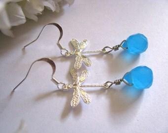 Silver Blue Crystal Dragonfly Earrings, Tears of Dragonflies Earrings, Sparkling Milky Sea Blue Quartz Glass Teardrops Earrings