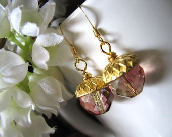 Peach and Pink Crystal Glass Acorn Earrings