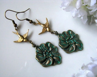 Patina Bird Earrings. Patina Verdigris Brass Flower With Flying Swallow Earrings. Nature Inspired Vintage Style Botanical Earrings