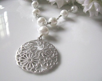 Matt Rhodium Plated Round Floral Lace Pendant With Pearls Necklace. Filigree Necklace. Bridal Jewelry. Bridesmaid Necklace. Wedding Gift.