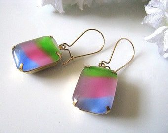 Pastel Rainbow Vintage Glass Earrings, Glass Jewel Earrings, Colourful Earrings, Gift For Her, Gift For Mum