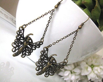 Vintage Styled Antiqued Flower Fairies Chandelier Earrings, Gift For Her