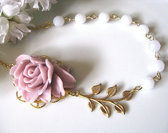 Lilac Rose With Faceted Blue Chalcedony Round Beads and Raw Brass Leafy Branch Necklace, Bridesmaid Necklace