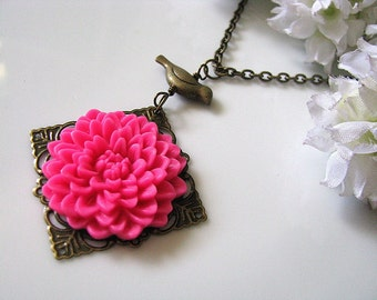 Flower Statement Necklace, Sweet Raspberry Chrysanthemum Chrissy Flower with Bird Necklace, Fuchsia Flower Cabochon Necklace, Gift For Her