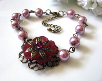 Wine Burgundy Frosted Pansy Bracelet - Brass Floral Filigree, Fuchsia Crystal and Strands of Plum Glass Pearls, Bridesmaid Bracelet