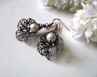 Lace Lily Earrings in Copper - Brass Filigree Bead Caps with White Pearls, Bridesmaid Earrings, Pearl Earrings