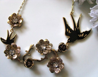Homecoming Necklace - Brass Branches, Black Swallow Birds, Metal Flowers And Small Crystals