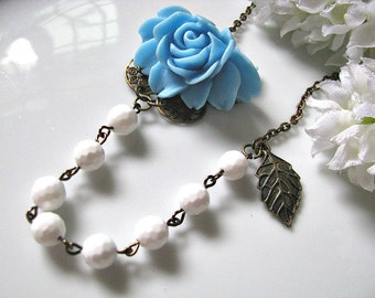 Aquamarine Rose And Disco Faceted White Jade Necklace - Vintage Inspired Statement Necklace, Bridesmaid Necklace