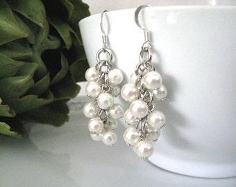Bridal Ivory Cream Faux Pearls Cascading Cluster Earrings, Bridal Pearl Earrings, Wedding Jewelry, Bridesmaid Earrings, Bridal Earrings