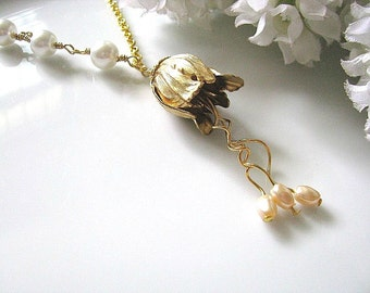 Brass Tulip Necklace, Antiqued Brass Tulip With Twisted Stamen And White Glass Pearls Necklace