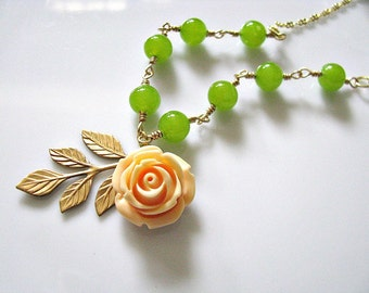 Butter Nut Dolly Rose Flower With Brass Leaf And Milky Finish Spring Olive Green Czech Pressed Glass Druk Round Beads Necklace