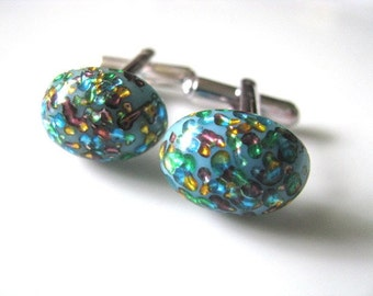 Vintage Blue Glass With Rainbow Foil Inclusions Cufflinks - Mens Accessory, Mens Jewelry, Gift For Him, Gift For Dad, Valentine Gift
