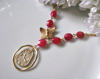 Red Necklace, Matte Gold Clock Pendant With Butterfly And Faceted Oval Ruby Jade Necklace, Gift For Her, Holiday Gift Idea, Christmas Gift