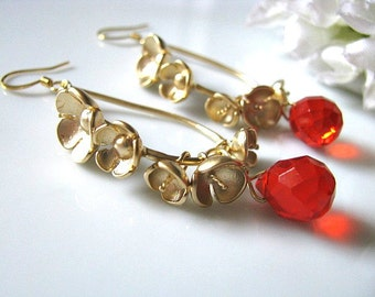 Orange Quartz Drop Earrings. Red Orange Faceted Fire Opal Quartz Briolettes Earrings. Tinkling Gold Bell Flowers Dangle Earrings.