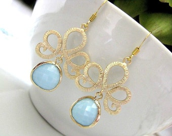 Matte Gold Tiara With Sky Blue Framed Glass Briolettes Earrings - Bridal Jewelry, Bridesmaid Earrings, Bridal Earrings, Gift For Her