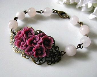 Purple Flower Bracelet, Amethyst Bouquet Of Flowers With Rose Quartz Rounds Bracelet - Bridal Bracelet, Bridesmaid Bracelet, Gift For Her