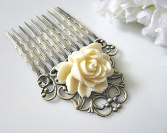 Bridal Hair Comb, Flower Hair Comb, Cream White Rose Flower Antique Brass Filigree Hair Comb - Bride, Bridesmaid Hair Accessory