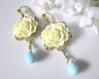 Ivory Cabbage Rose Flower With Turquoise Faceted Briolettes Earrings - Bridesmaid Earrings, Bridal Earrings, Gift For Her, Gift For Mum