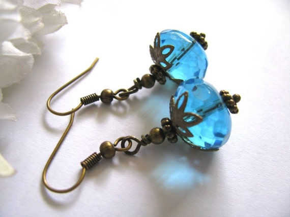 Aquamarine Rondelle Beaded Earrings - Czech Firepolished Faceted Glass Dangles, Bridesmaid Earrings