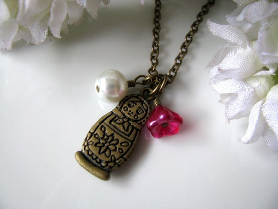 Matryoshka Doll - Antique Brass Russian Doll Pendant Necklace, Satin Magenta Flower, Gift For Her
