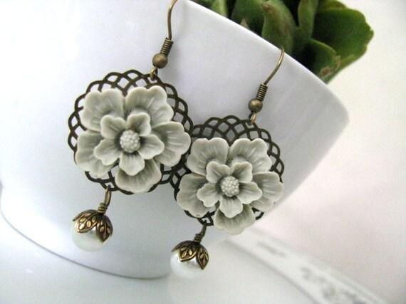 Gray Green Sakura With White Glass Pearls Earrings - Bridesmaid Earrings, Bridal Earrings, Bridal Jewelry
