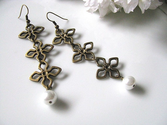 Antique Floral Links With White Glass Pearl Dangle Earrings, Bridesmaid Earrings