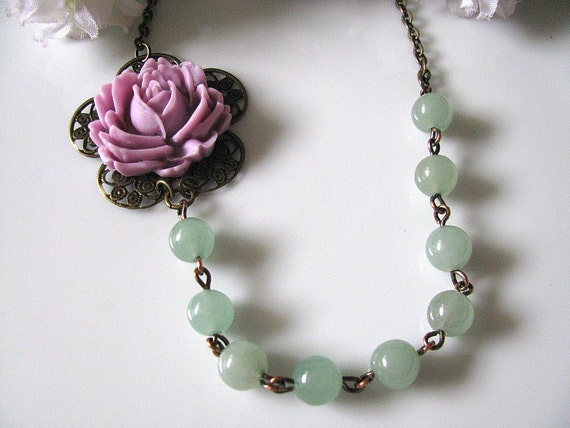 Lilac Rose With Green Aventurine Gemstone Necklace, Vintage Inspired Statement Necklace, Bridesmaid Necklace