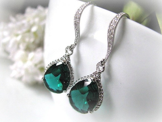 Emerald Green Crystal Glass Drop With White Gold Cubic Zirconia Hook Earrings - Bridal Wedding Jewelry, Bridesmaid Earrings, Maid Of Honor